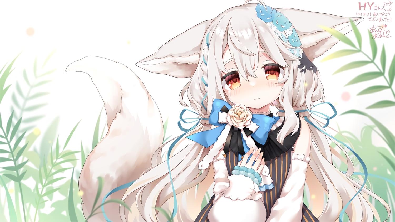 animal_ears anzu_ame blush bow braids dress foxgirl gray_hair leaves long_hair original red_eyes ribbons sakurada_shiro signed tail waifu2x
