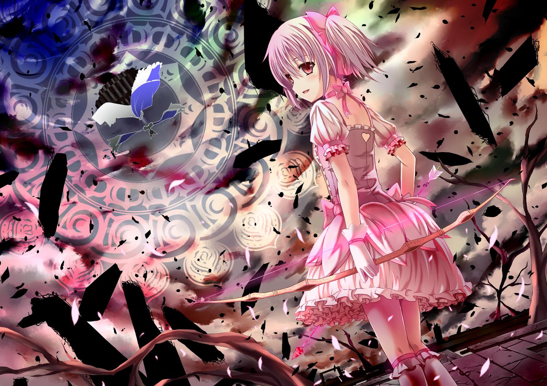 bow bow_(weapon) dress kaname_madoka mahou_shoujo_madoka_magica pink_eyes pink_hair short_hair weapon yuuri_nayuta