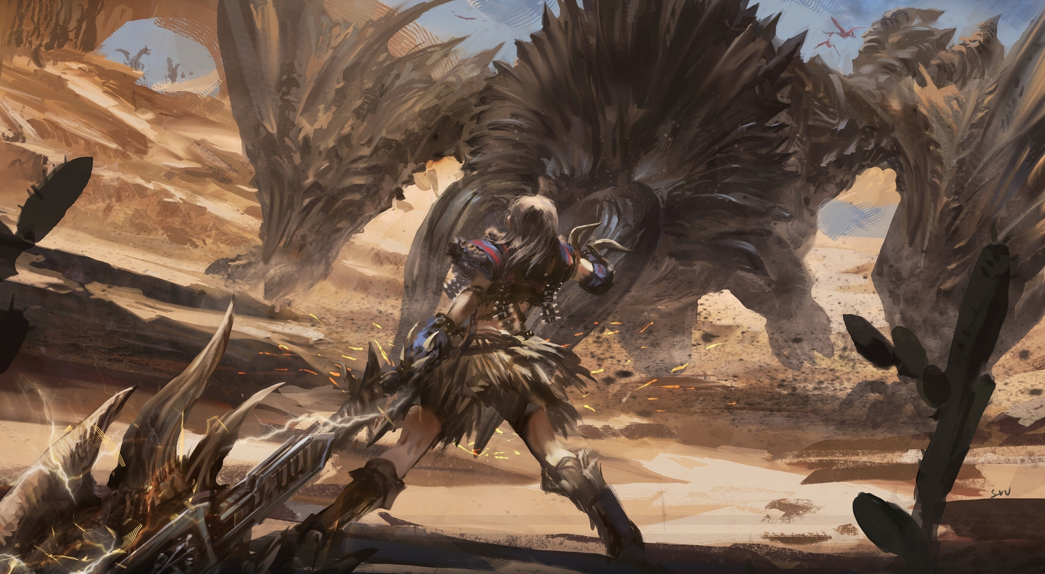 animal armor clouds green_hair long_hair monster_hunter signed sky stu_dts weapon