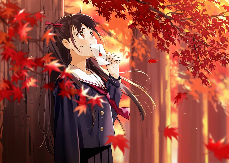 autumn brown_eyes brown_hair crying leaves long_hair original paper school_uniform skirt tears tie tree urata_asao