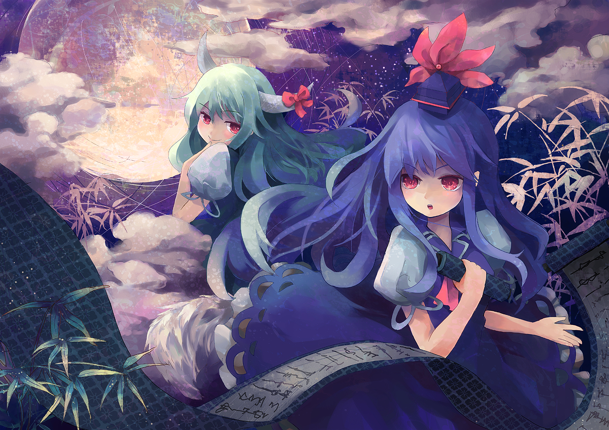 blue_hair blush clouds ex_keine green_hair kamishirasawa_keine long_hair moon nanashina red_eyes touhou