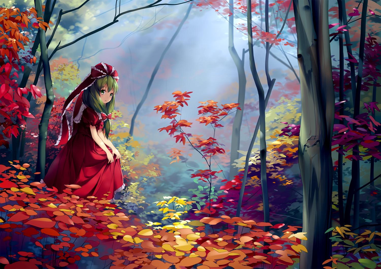 autumn bow chen_bin dress forest green_eyes green_hair kagiyama_hina leaves long_hair scenic touhou tree