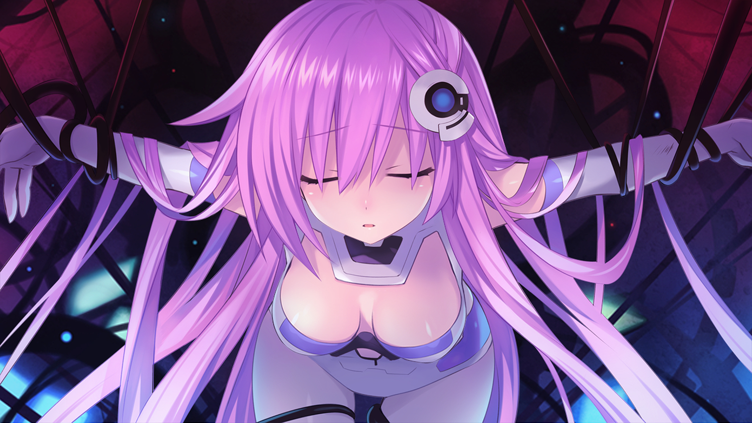 game_cg hyperdimension_neptunia_mk2 long_hair purple_hair purple_sister tsunako