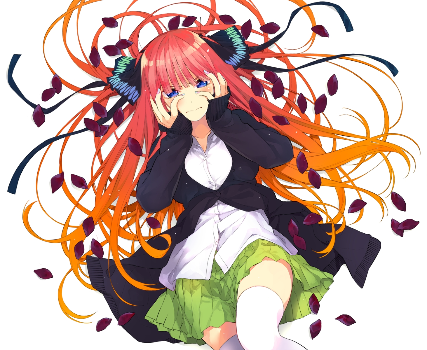 blue_eyes blush go-toubun_no_hanayome haruba_negi long_hair nakano_nino red_hair school_uniform skirt thighhighs
