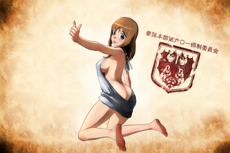 ass barefoot blue_eyes blush breasts brown_hair genya67 no_bra nopan viktoriya_ivanovna_serebryakov youjo_senki