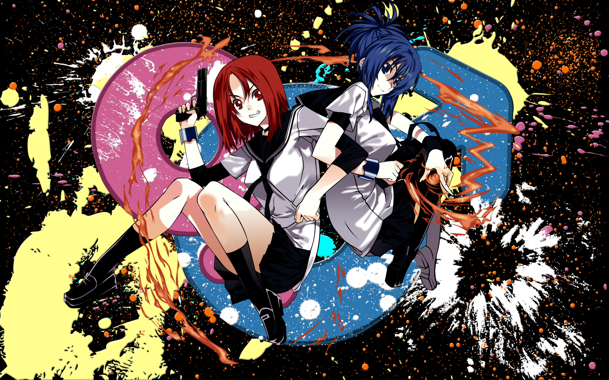 blue_eyes blue_hair gun kampfer mishima_akane red_eyes red_hair seifuku senou_natsuru weapon