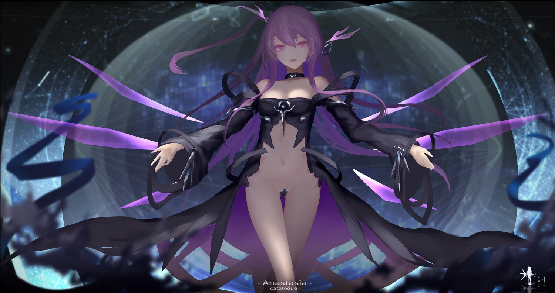 hc jpeg_artifacts long_hair ponytail purple_eyes purple_hair tagme_(character)