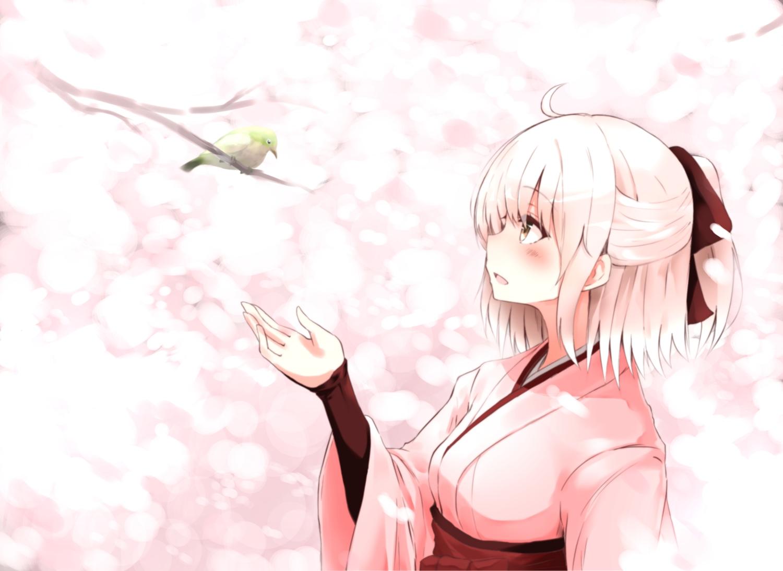 animal bird blonde_hair blush fate/grand_order fate_(series) fuu_(fuore) japanese_clothes okita_souji_(fate) short_hair yellow_eyes