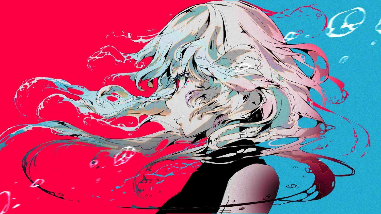 blue close gray_hair long_hair original polychromatic red red_eyes sanamisa water