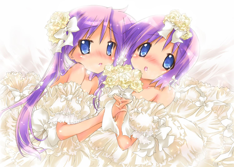 blue_eyes dress flowers hiiragi_kagami hiiragi_tsukasa long_hair lucky_star nyanmilla purple_hair short_hair twintails wedding_attire