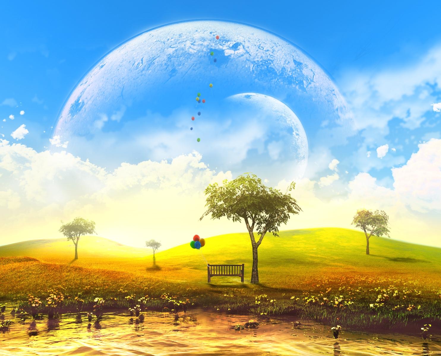 3d clouds flowers grass landscape moon nobody original scenic sky tree water y-k