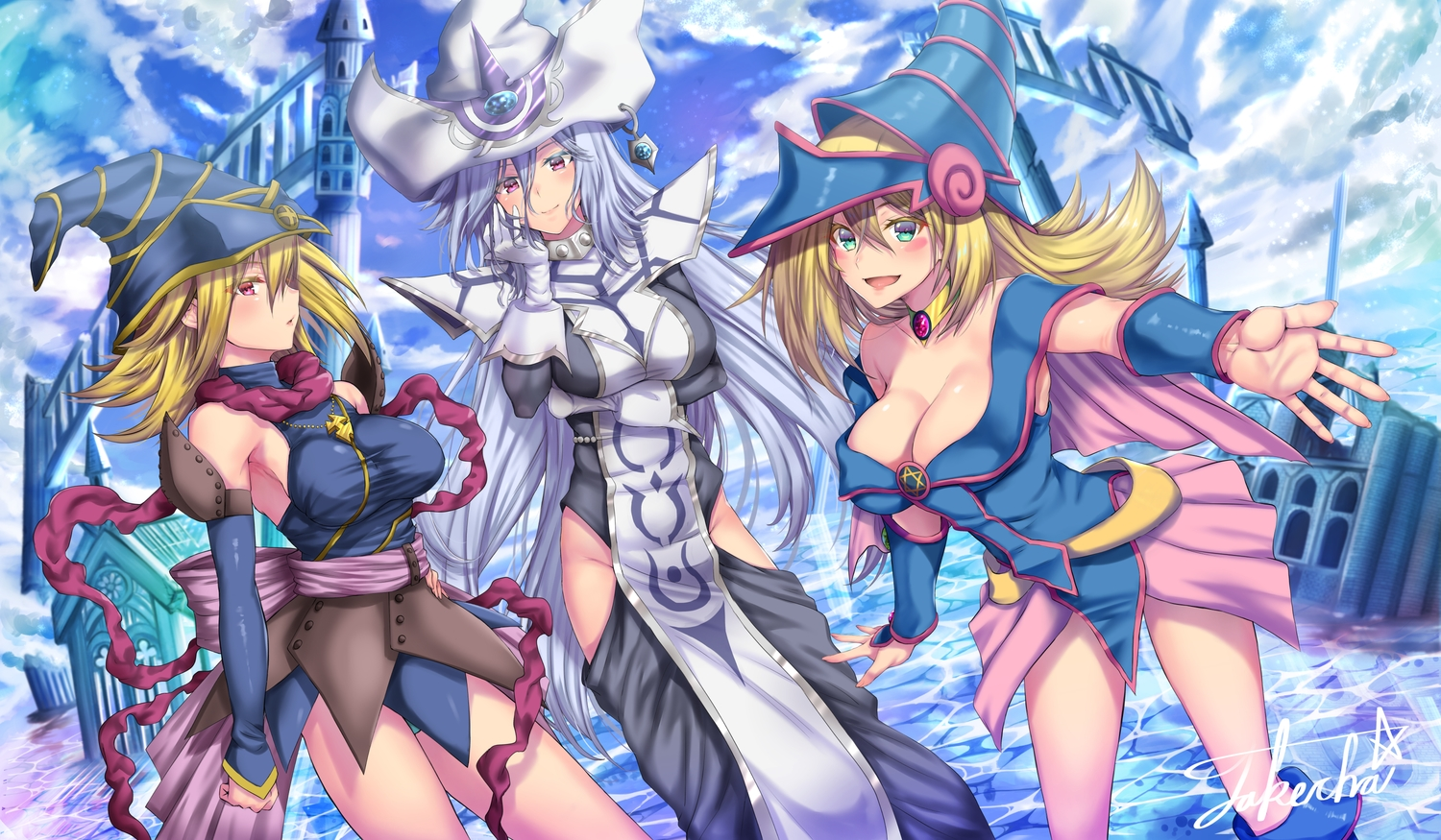 blonde_hair breasts building cleavage clouds dark_magician_girl dress gagaga_girl hat long_hair signed silent_magician sky takecha water witch_hat yu-gi-oh