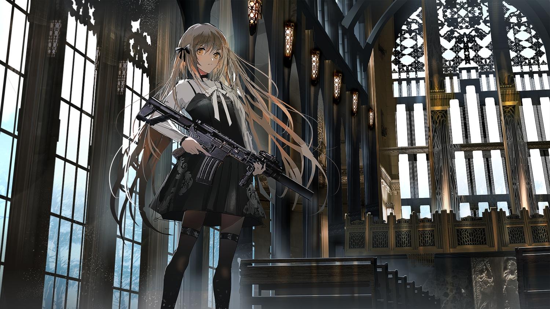 brown_eyes brown_hair dress gothic gun long_hair original pantyhose swav weapon