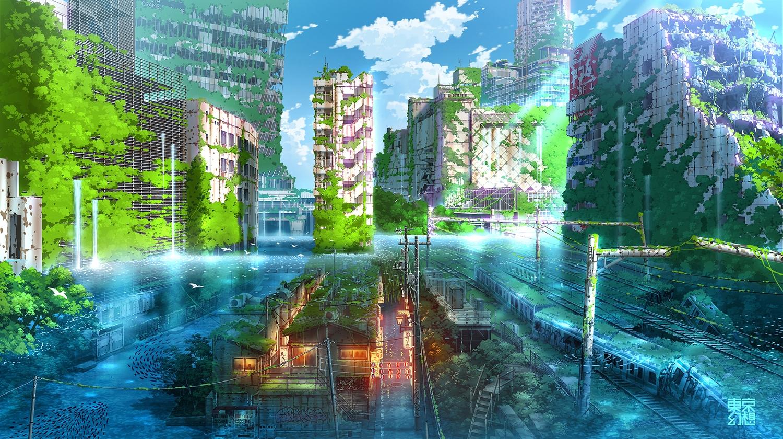 animal bird building city clouds fish original ruins scenic sky tokyogenso train water watermark