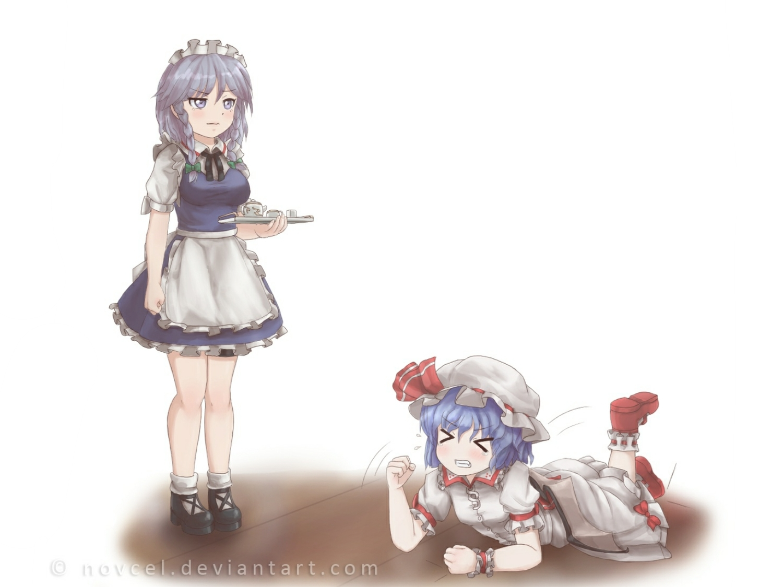 2girls blue_hair braids dress drink hat izayoi_sakuya maid novcel remilia_scarlet signed touhou vampire white