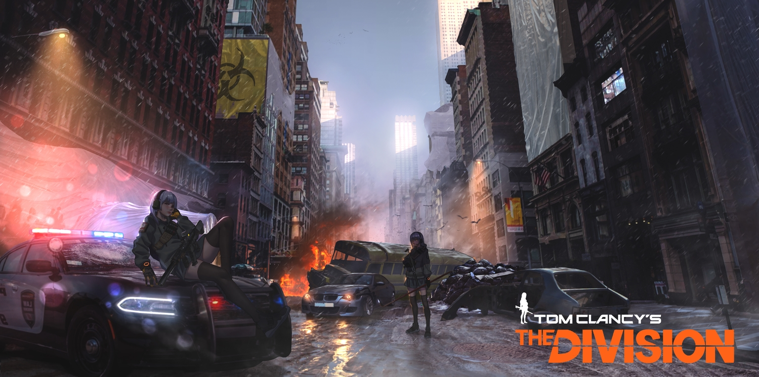 2girls animal baka_(mh6516620) bird brown_eyes building car city fire gloves gun headphones long_hair purple_hair skirt sky thighhighs tom_clancy's_the_division weapon yellow_eyes zettai_ryouiki