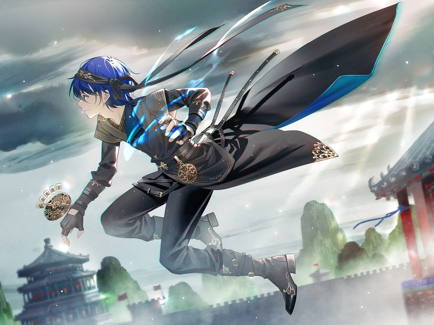 all_male blue_eyes blue_hair boots building clouds gloves headband magic male ribbons short_hair sky tidsean vocaloid vocaloid_china zhiyu_moke