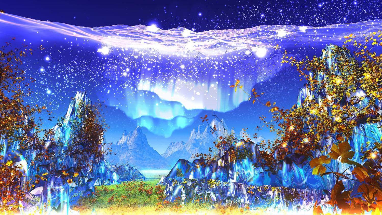 3d grass landscape leaves nobody original scenic sky stars y-k