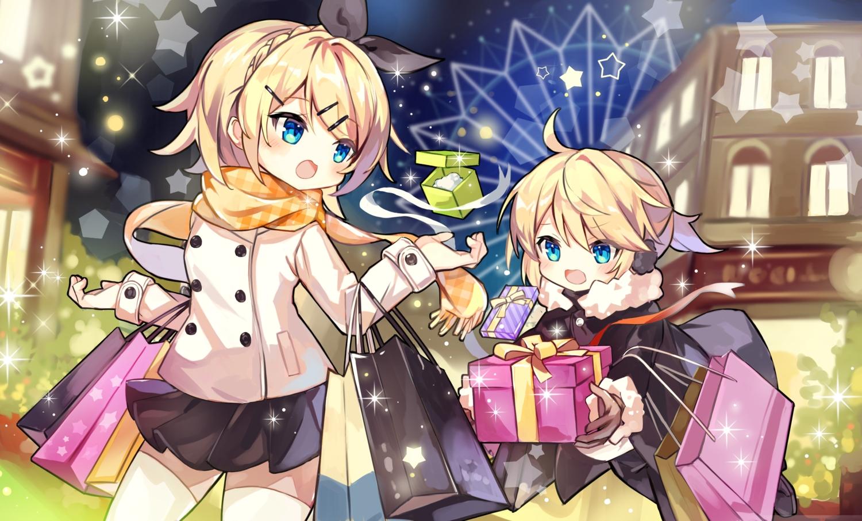 aqua_eyes blonde_hair blush building christmas city earmuffs fujii_shino hoodie kagamine_len kagamine_rin male night ponytail ribbons scarf short_hair skirt thighhighs vocaloid