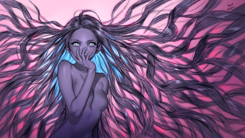 aqua_eyes foo_midori long_hair original polychromatic purple_hair sketch