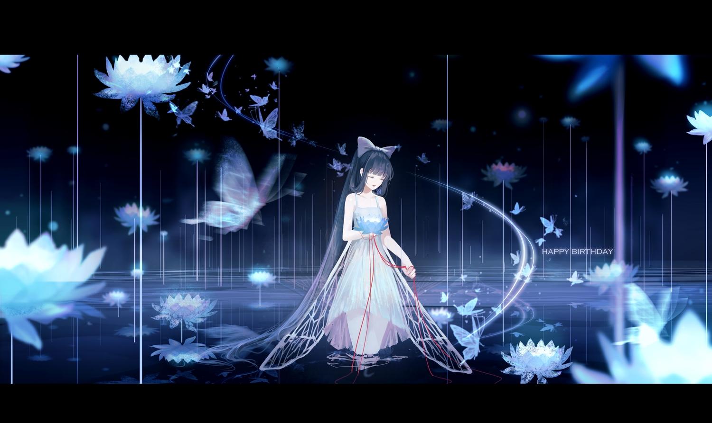 black_hair butterfly clouble dress flowers long_hair original ponytail water
