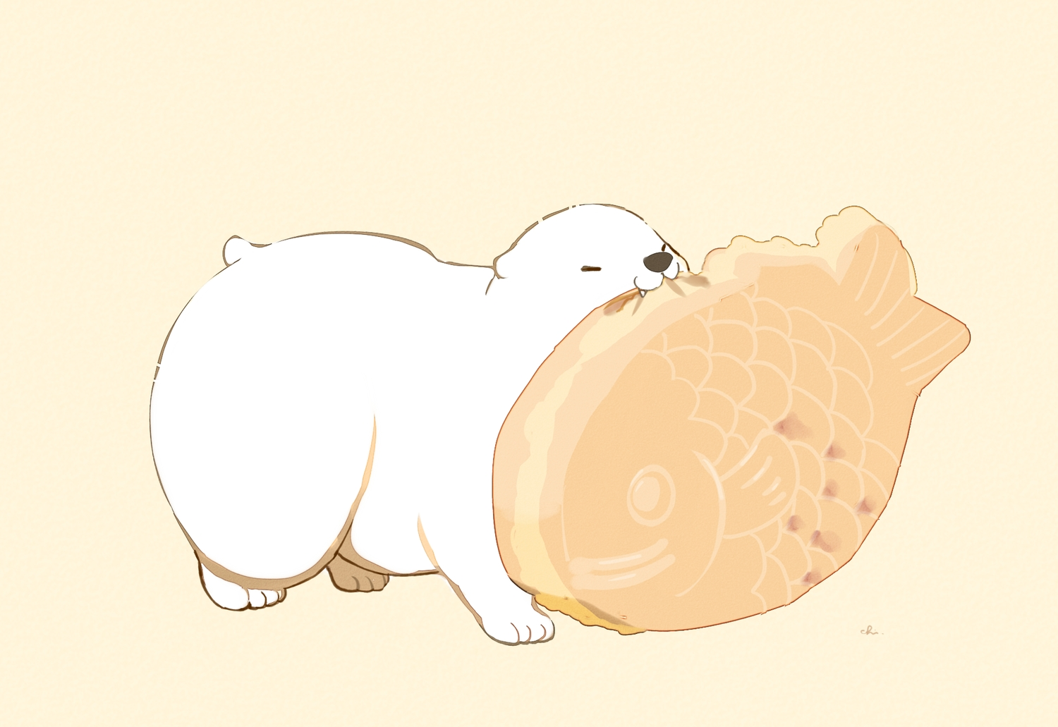 animal bear brown cat_smile chai_(artist) food nobody original polychromatic signed taiyaki