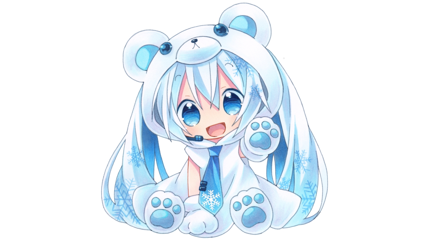 blue_eyes blue_hair chibi gloves hatsune_miku hoodie kagami_leo long_hair microphone tie twintails vocaloid white yuki_miku