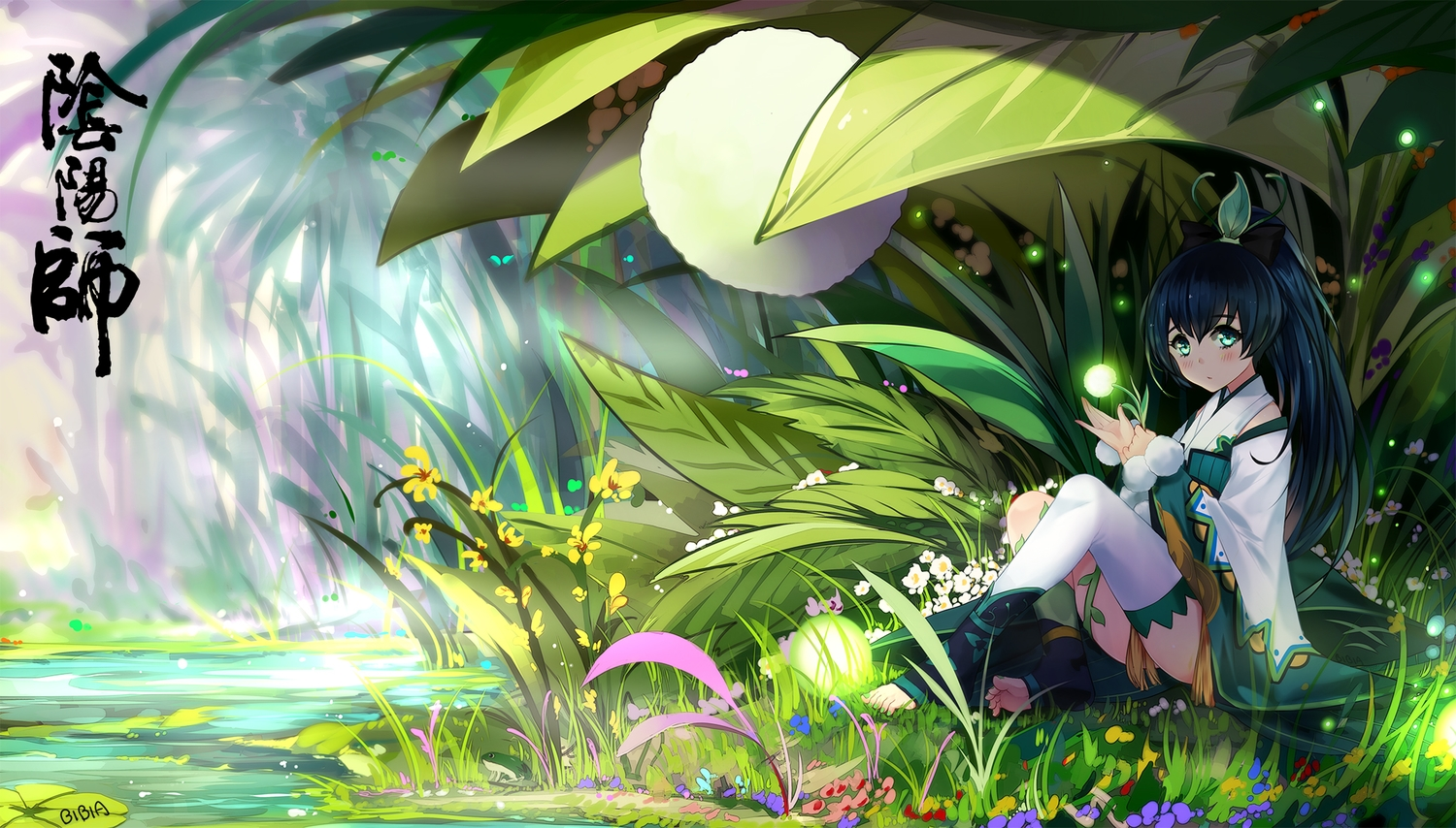 animal bba_biao black_hair blush flowers frog grass green_eyes long_hair signed water