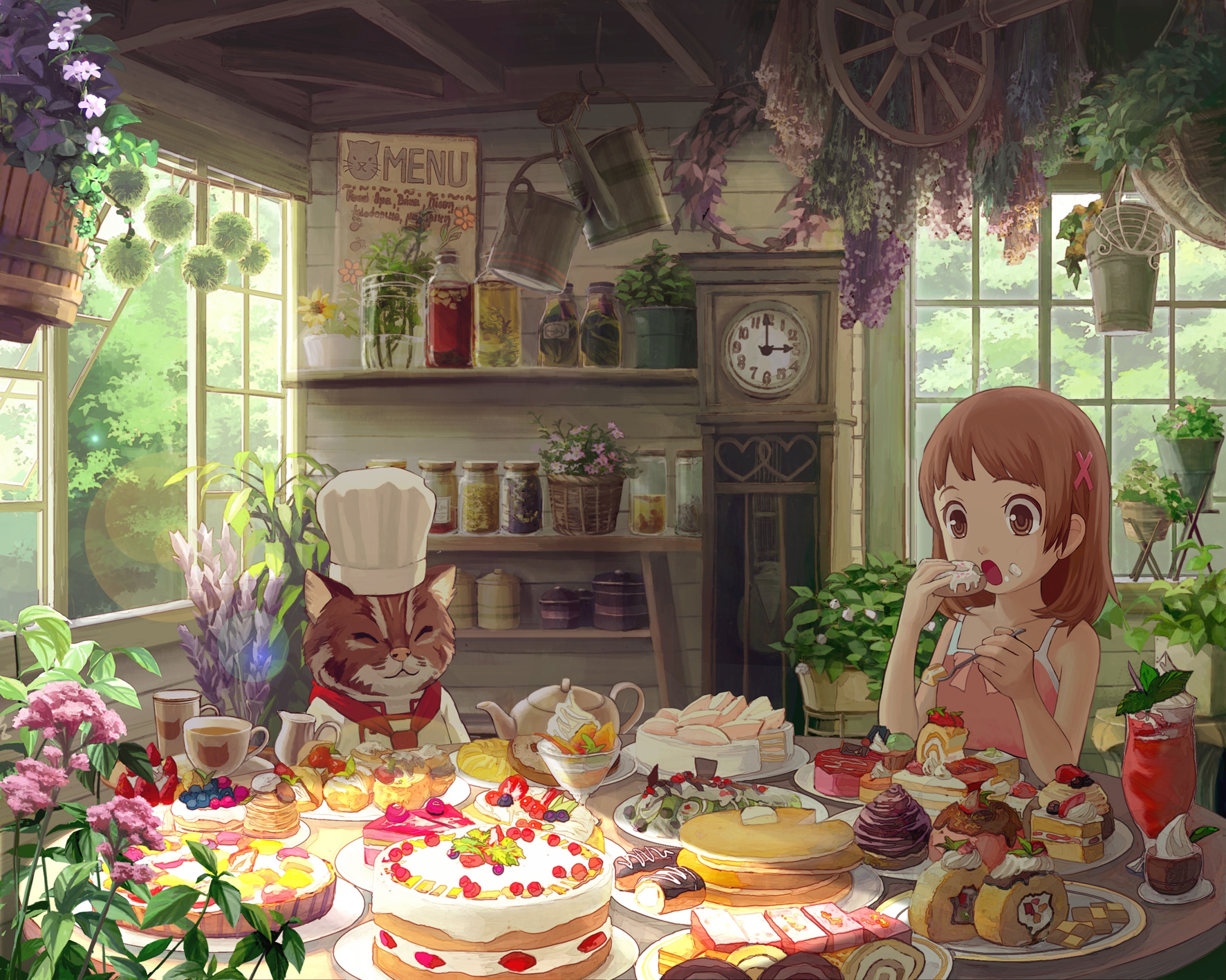 animal brown_eyes brown_hair cake cat flowers food harupy original