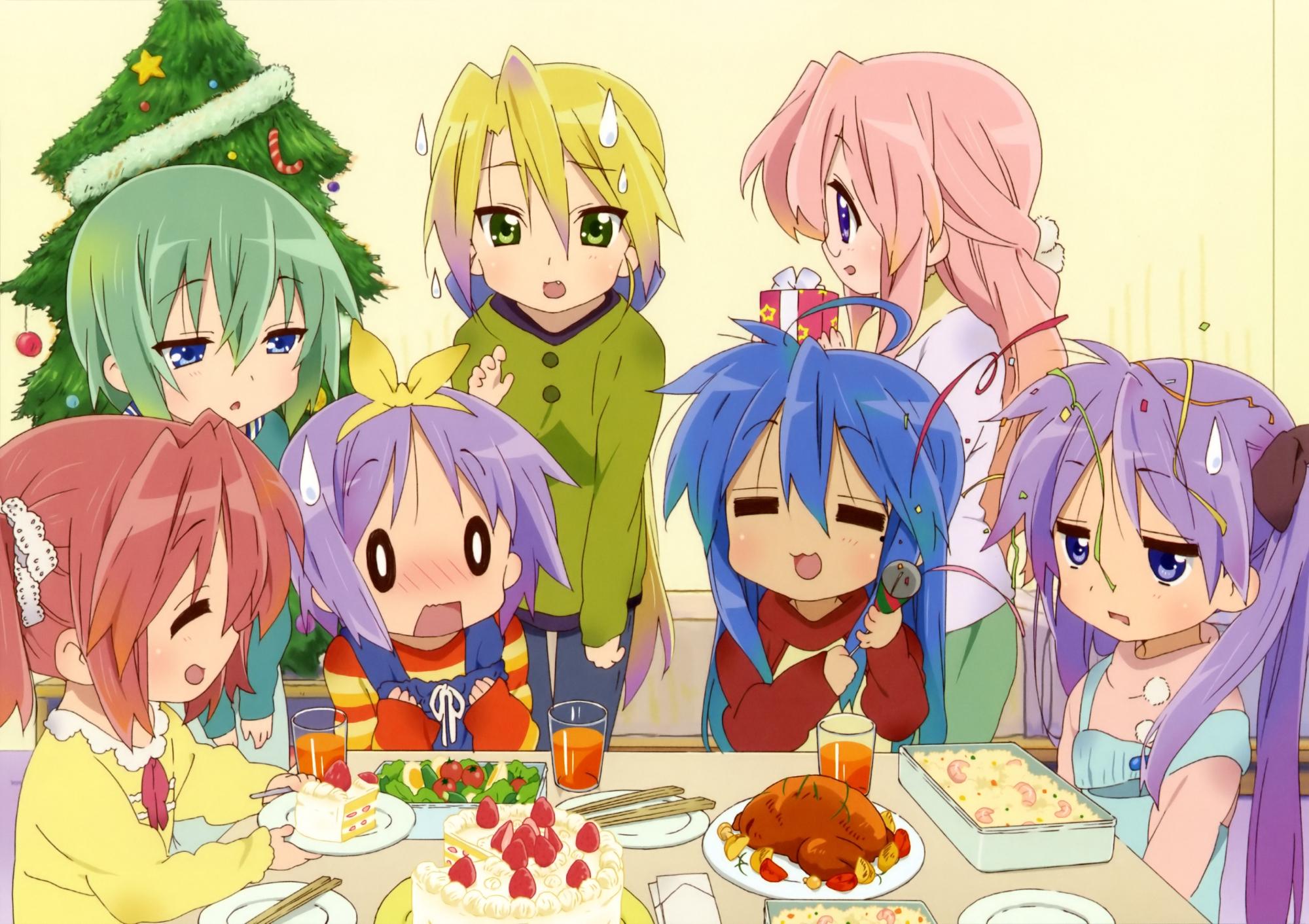 christmas food hiiragi_kagami hiiragi_tsukasa iwasaki_minami izumi_konata kobayakawa_yutaka lucky_star scan takara_miyuki
