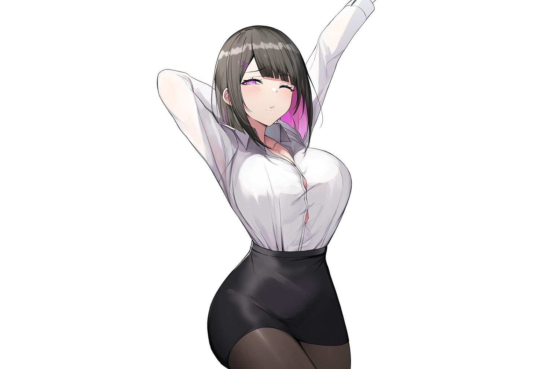 black_hair blush breasts luse_maonang original pantyhose purple_eyes shirt short_hair skirt third-party_edit white wink
