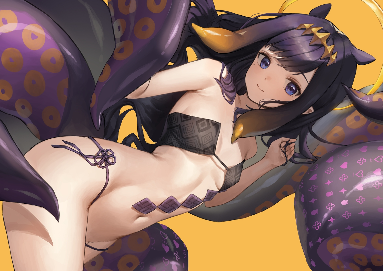 animal_ears halo hololive long_hair navel ninomae_ina'nis pointed_ears purple_hair tentacles xi_xeong yellow