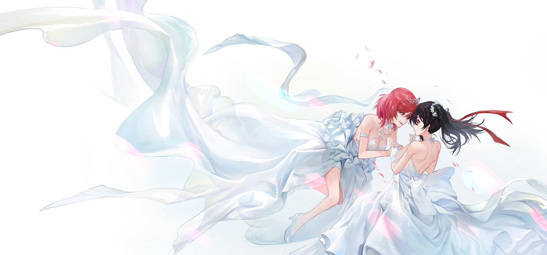 2girls black_hair breasts cleavage love_live!_school_idol_project mossi nishikino_maki red_hair ribbons shoujo_ai tiara wedding wedding_attire yazawa_nico