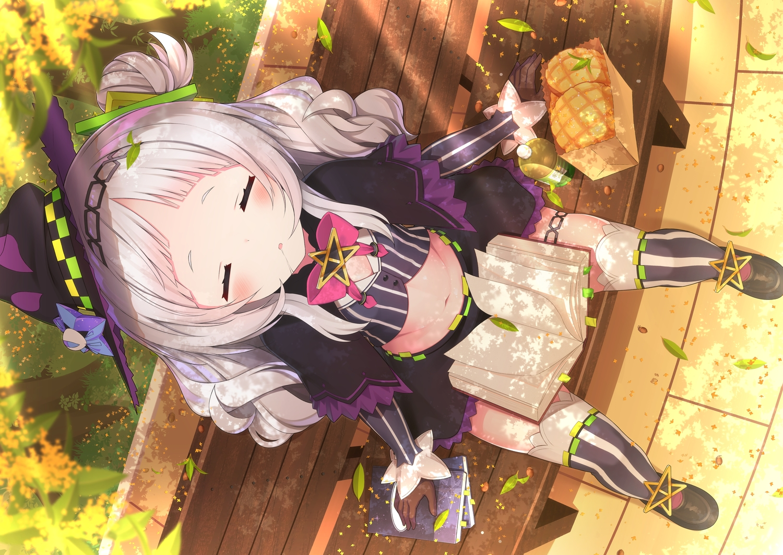 blush book bow food garter gloves gray_hair hat headband hololive long_hair murasaki_shion navel sasakura_momizi skirt sleeping thighhighs witch_hat zettai_ryouiki