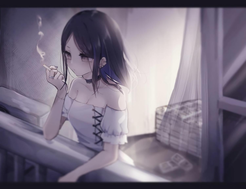 black_hair breasts choker cigarette cleavage gray_eyes monochrome original smoking tsuruse waifu2x