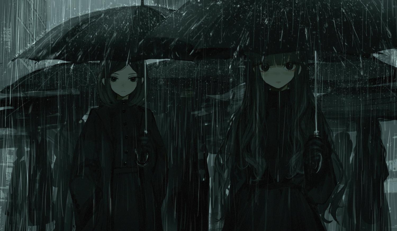 aliasing blush cropped dark gloves long_hair monochrome naruwe original rain short_hair umbrella water