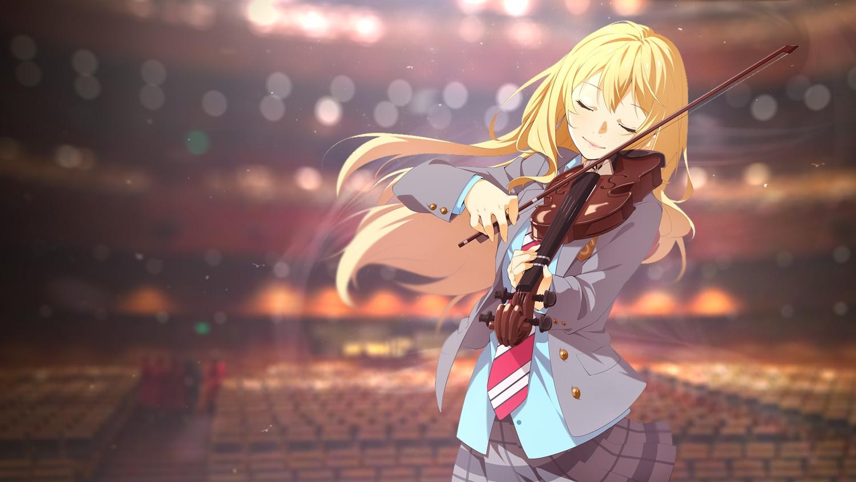 aliasing blonde_hair ello-chan instrument miyazono_kaori school_uniform shigatsu_wa_kimi_no_uso skirt tie violin