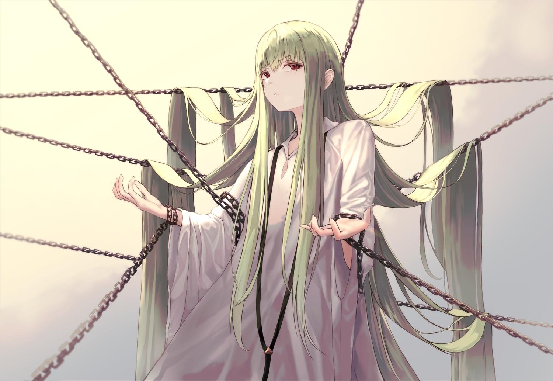 all_male chain enkidu fate/grand_order fate_(series) green_hair ita_(itta) jpeg_artifacts long_hair male red_eyes