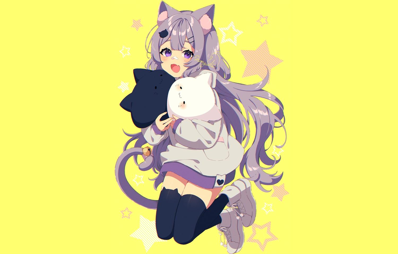 animal_ears aylaah_mao bandaid bell blush catgirl fang hoodie long_hair mamyouda purple_eyes purple_hair signed stars tail thighhighs yellow zettai_ryouiki
