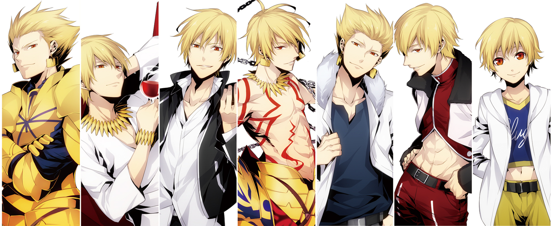 all_male blonde_hair fate/hollow_ataraxia fate_(series) fate/stay_night fate/strange_fake fate/zero gilgamesh male red_eyes xia_(ryugo)