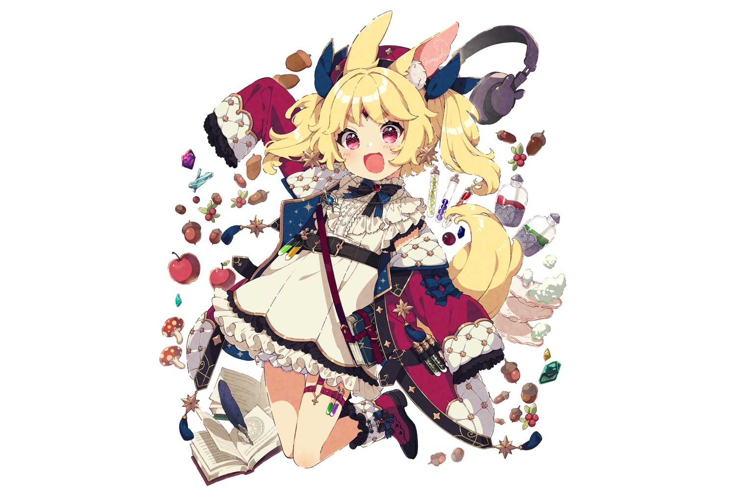 animal_ears apple blonde_hair blush book boots bow bunny_ears cat_smile dress drink feathers food fruit garter hat headphones loli magic mamyouda necklace nicola_aldin red_eyes seventh_v signed tail twintails