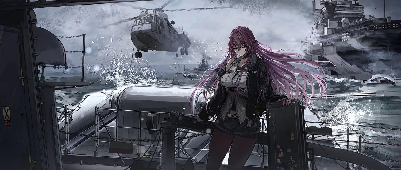 alaska_(zhanjian_shaonu) anthropomorphism black_eyes choker clouds hagurumadaze long_hair pantyhose purple_hair shorts sky water zhanjian_shaonu