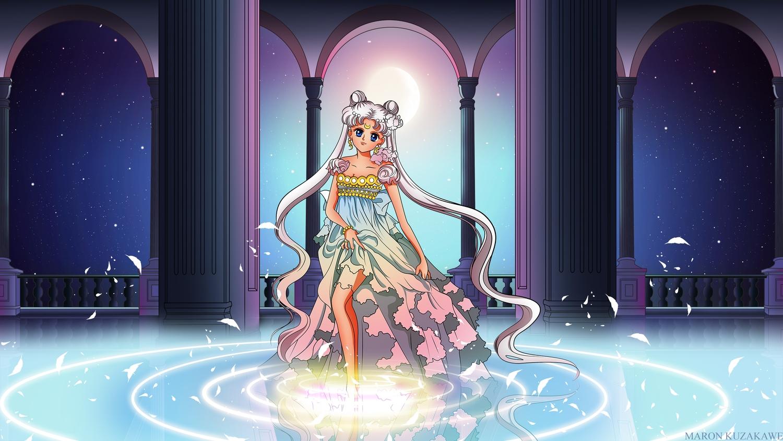 dress gray_hair kuzakawe_maron moon neo_queen_serenity sailor_moon tsukino_usagi twintails