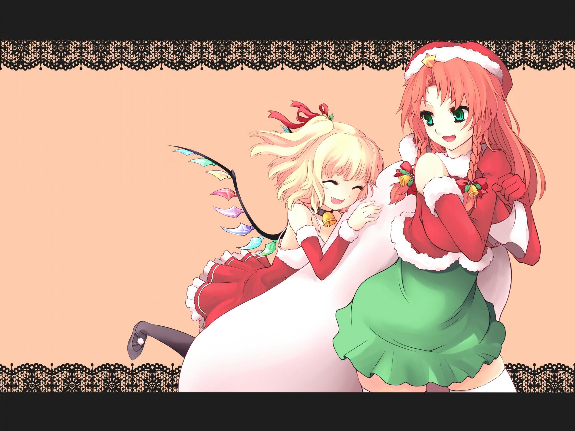 blonde_hair christmas flandre_scarlet green_eyes hong_meiling jungetsu_hoko long_hair red_hair ribbons santa_costume short_hair touhou vampire wings