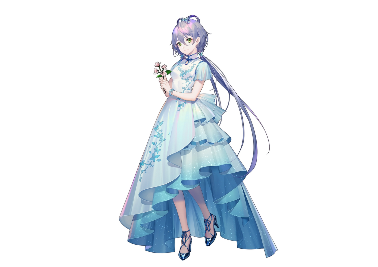 chinese_clothes chinese_dress dress flowers green_eyes long_hair luo_tianyi purple_hair tidsean twintails vocaloid vocaloid_china white wristwear
