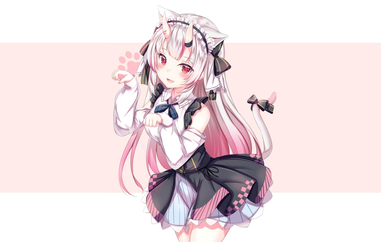 animal_ears blush bow catgirl demon fang gray_hair headdress hololive horns long_hair nakiri_ayame red_eyes skirt tail third-party_edit yuano