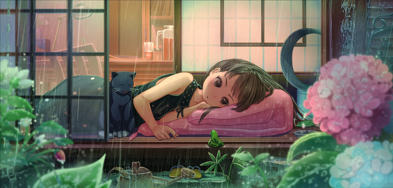 abo_(kawatasyunnnosukesabu) animal black_eyes brown_hair cat dress drink flowers frog original rain short_hair water