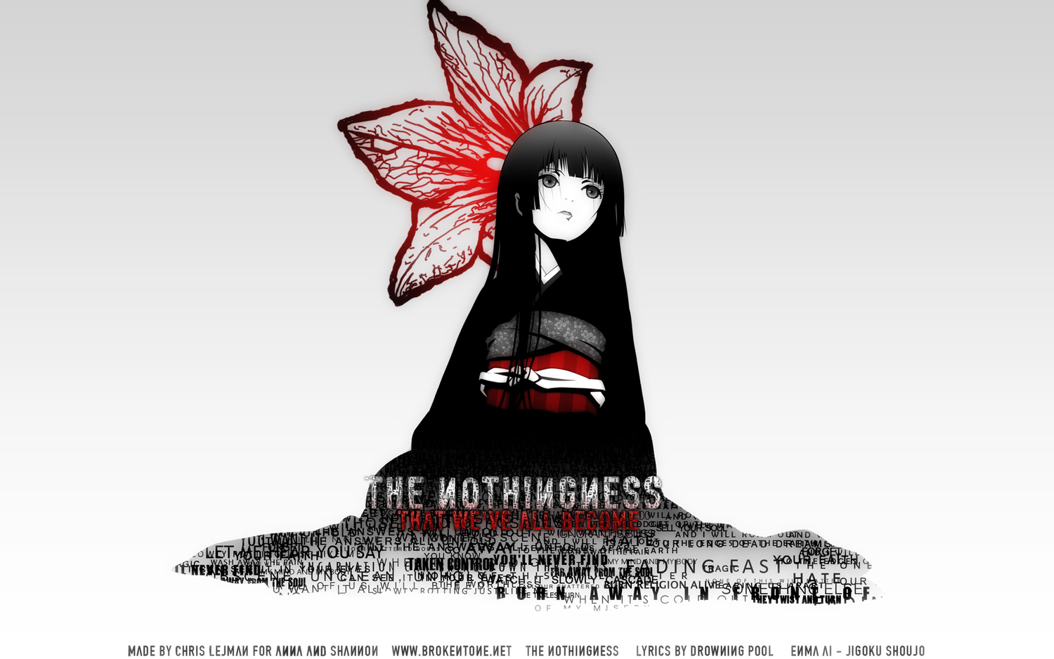 black_hair enma_ai flowers japanese_clothes jigoku_shoujo photoshop white