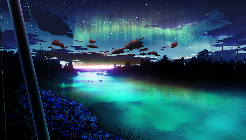 3d clouds flowers landscape night nobody original scenic sky water y-k