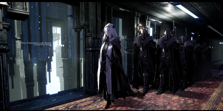 armor gray_hair group headband long_hair original pixiv_fantasia spear swd3e2 sword watermark weapon